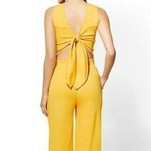 New York & Company Size M Tie Back Jumpsuit Yellow